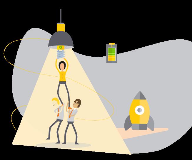 Ilustração de pessoas se ajudando para trocar a lâmpada